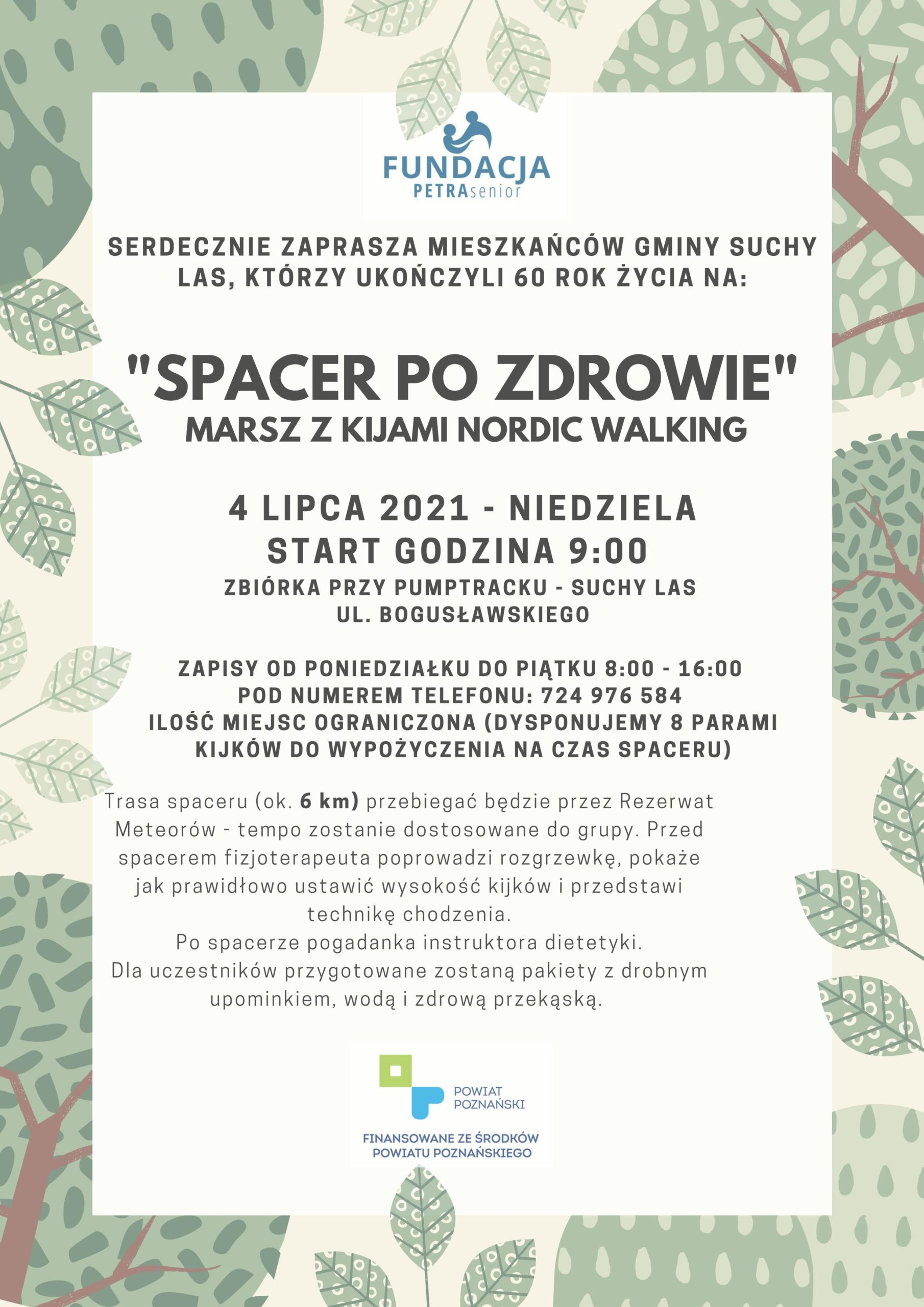 """SPACER PO ZDROWIE""""  MARSZ Z KIJAMI NORDIC WALKING - Suchy Las"""